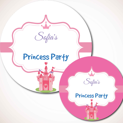 Princess party labels